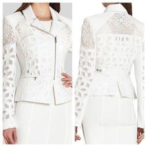 NWT BCBGMAXAZRIA Boe Jacquard Lace Moto Jacket  S